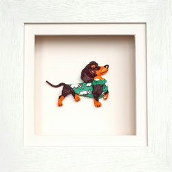 Dachshund Papier Mache Animal in White Wooden 3D Frame with glass