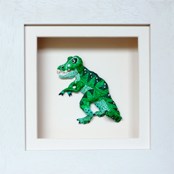 Dinosaur T-Rex Papier Mache Animal in White Wooden 3D Frame with glass