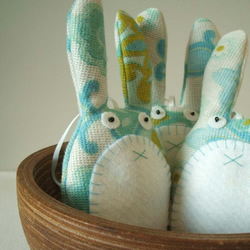 Eco friendly bunny plush decoration handmade in turquoise and aqua blue fabric