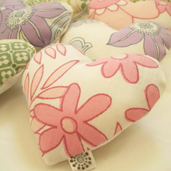 Four lavender sachet hearts handmade with vintage fabric in Lilac & Cherry Pink