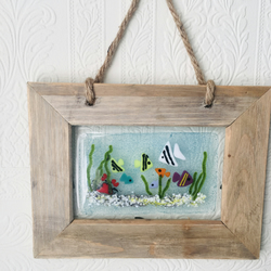 Underwater scene fused glass framed picture