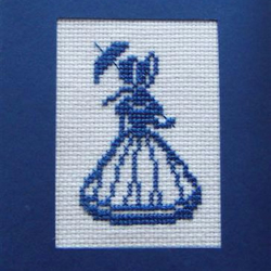 Crinoline Lady Cross Stitch Birthday Card
