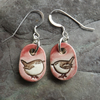 Wren ceramic and sterling silver drop earrings in rose pink