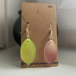 Oval Yellow and Pink Glow in the Dark Earrings