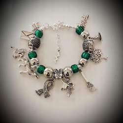Girls Harry Potter Inspired Snake Chain Charm Bracelet With Slytherin Green