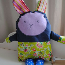 RETRO RABBIT! Brand New hand made fabric soft Rabbit. Ideal newborn baby gift or for Easter.