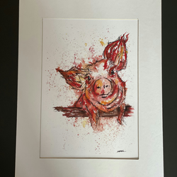 Pig Print - Signed and Mounted - Ink& Watercolour