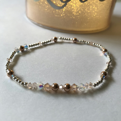 Sterling silver beaded stretch,stacking bracelets