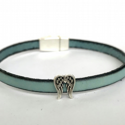 Pale Blue Charm Leather Bracelet