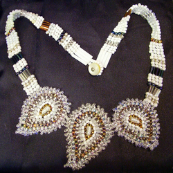 White Paisley beaded necklace
