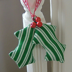 Holly Leaves Christmas Decoration - Green Stripes Print
