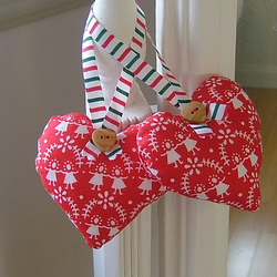 Pretty Red Fabric Heart Christmas Decoration