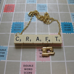 CRAFT Scrabble Necklace with sewing machine