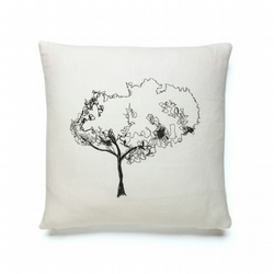 Embroidered Mumbai Tree Branch Cushion - White & Black - COVER ONLY