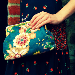 'Kitty' vintage fabric clutch purse - Sanderson