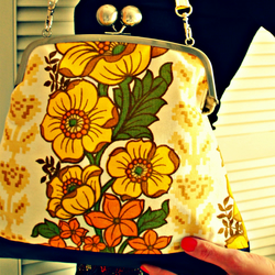 Esther leather-trimmed vintage fabric handbag - morning sunflower