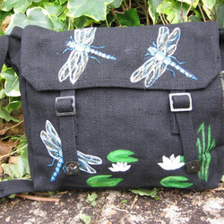 Black satchel with Dragonfly and lily pad design