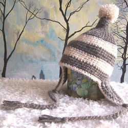Grey striped elf hat