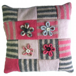 Daisies of the galaxy  recycled cushion