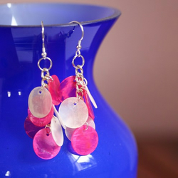 Pink and White Earrings