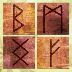 Digital Collage Sheet RUNIC ALPHABET 1.5in Squares - 0042