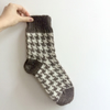 READY TO SHIP knitted houndstooth unisex winter socks brown white wool
