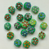 20 x Flower Glass Beads - Green