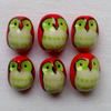 6 x Sweet Owl Handmade Beads - Red