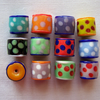 12 x Happy Glass Beads (12x14mm)