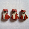 3 x  Handmade Ceramic Fox Beads
