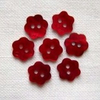 7 x Little Red Shell Flower Buttons (10mm)
