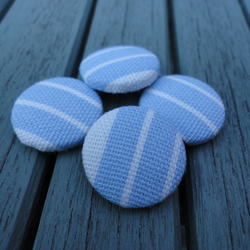 Striped fabric buttons - blue & white