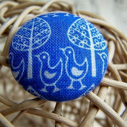 Fabric Buttons - Blue Forest Parade