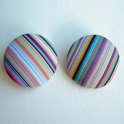 Fabric buttons - Zesty Stripes