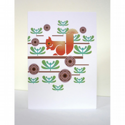 Red Squirrel Greeting Card // FREE SHIPPING