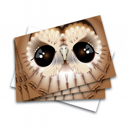 Set of 3 cute Tawny Owl greetings - invitations - notecards