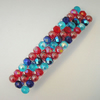 Crystal and glass beaded hair clip- red and blue