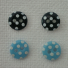 Button stud earrings (sterling silver)- choice of blue shades