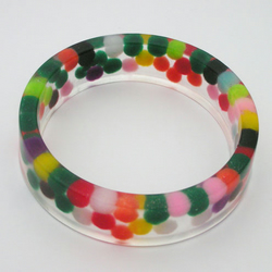 Colourful pom pom resin bangle