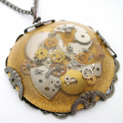 Steampunk cogs, gold and black resin pendant