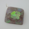 Square silvery small resin pendant with iridescent hearts