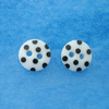Button stud earrings (sterling silver)- white or black