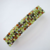 Crystal glass beaded hair clip- green and brown