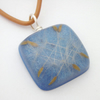 Dandelion seeds in blue resin and sterling silver pendant