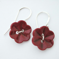 Burgundy flower button and sterling silver earrings