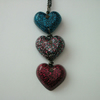 Pink and blue glittery hearts resin pendant with chain