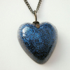 Purple blue glitter resin heart pendant with chain
