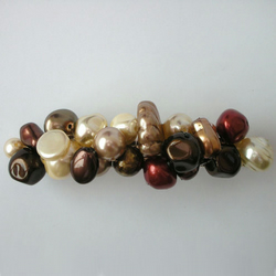 Copper, brown and cream pearl hairclip