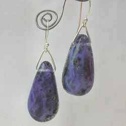 Purple swirl, black glitter and sterling silver earrings