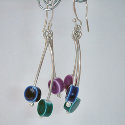Colourful ceramic bead and sterling silver earrings